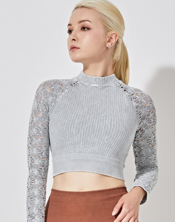 Graceful Mock Neck Crop Top (VK2TS416/SM)
